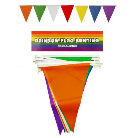 Rainbow PVC Plastic Bunting 7m -  Party Triangular Pennants (25 Flags)